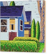 Houses Remastered Wood Print