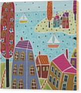 Houses Trees And Sailboats By The Bay Wood Print