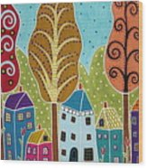 Houses Trees Birds Painting By Karla G Wood Print
