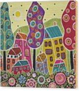 Houses Trees Flowers Wood Print