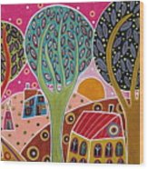 Houses Trees Whimsical Landscape Wood Print