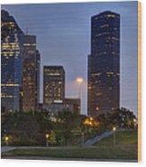Houston Nighttime Skyline Wood Print