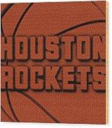 Houston Rockets Leather Art Wood Print