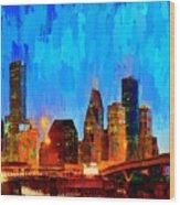Houston Skyline 102 - Pa Wood Print