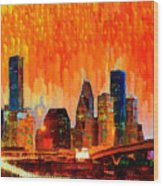 Houston Skyline 116 - Pa Wood Print