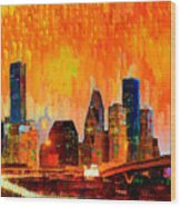 Houston Skyline 119 - Pa Wood Print