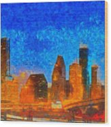 Houston Skyline 40 - Pa Wood Print