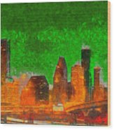 Houston Skyline 48 - Pa Wood Print