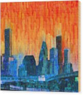Houston Skyline 81 - Pa Wood Print