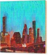 Houston Skyline 87 - Pa Wood Print
