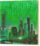 Houston Skyline 96 - Pa Wood Print