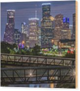 Houston Skyline Over Buffalo Bayou At Twilight Wood Print