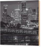 Houston Skyline With Rosemont Bridge In Bw Wood Print