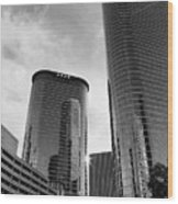 Houston Skyscrapers Black And White Wood Print