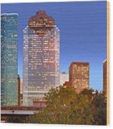 Houston Texas Skyline At Dusk Wood Print