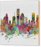 Houston Texas Skyline Panoramic Wood Print