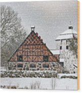 Hovdala Castle Gatehouse And Stables In Winter Wood Print