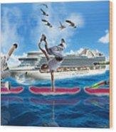 Hoverboarding Across The Atlantic Ocean Wood Print