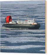 Hovercraft On Frozen Artic Ocean Wood Print
