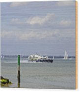 Hovercraft Passing Ryde Harbour Mouth Wood Print