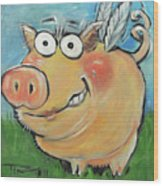 Hovering Pig Wood Print