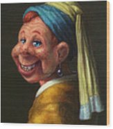 Howdy With A Pearl Earring Wood Print