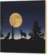 Howling At The Moon Wood Print