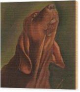 Howling Bloodhound Wood Print