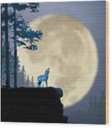 Howling Coyote Wood Print