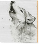 Howling Wolf Watercolor Wood Print
