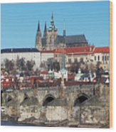 Hradcany - Cathedral Of St Vitus And Charles Bridge Wood Print