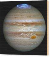 Hubble Captures Vivid Auroras In Jupiter's Atmosphere Wood Print