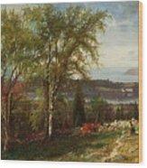 Hudson River At Croton Point Wood Print
