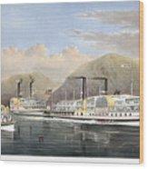 Hudson River Steamships Wood Print by Granger