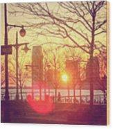 Hudson River Winter Sunset Wood Print