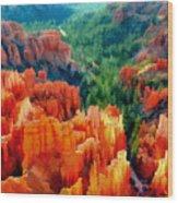 Hues Of The Hoodoos In Bryce Canyon National Park Wood Print