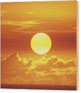 Huge Orange Sun Wood Print