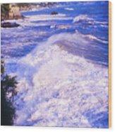 Huge Wave In Ligurian Sea Wood Print