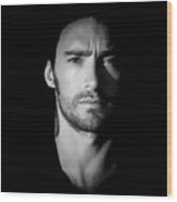 Hugh Jackman Black And White By Gbs Wood Print