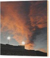 Hughes Stadium Sunset Wood Print by Sara  Mayer