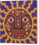 Huichol Beadwork Sun Mexico Wood Print