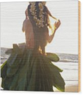 Hula At Sunrise Wood Print