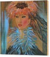 Hula In Turquoise Wood Print