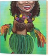 Hula Dancer Wood Print