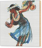 Hula Dancer With Uli Wood Print