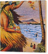 Hula Flower Girl 1915 Wood Print