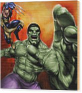 Hulk Wood Print by Pete Tapang