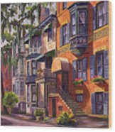 Hull Street In Chippewa Square Savannah Wood Print