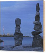 Human Figures Made From Stones At Night Wood Print