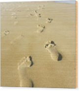 Human Footsteps In The Sand Wood Print